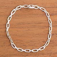 Sterling silver link bracelet, 'Minimalist Flair'