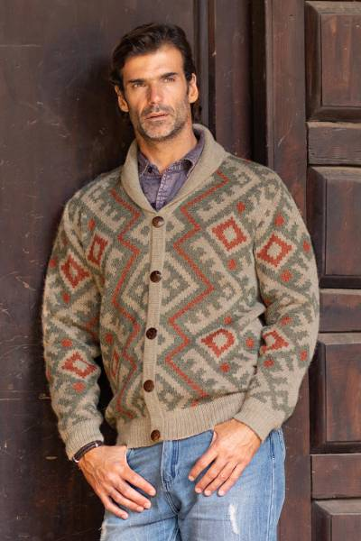 Men's 100% alpaca cardigan, 'Andean Zigzag' - Zigzag Pattern Men's 100% Alpaca Cardigan from Peru