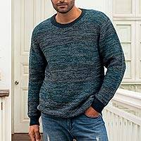 Men's 100% alpaca pullover, 'Andean Spruce' - Blue Men's 100% Alpaca Pullover from Peru