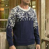 Men's 100% alpaca pullover, 'Snowflake Dimension' - Snowflake Pattern Men's 100% Alpaca Pullover from Peru