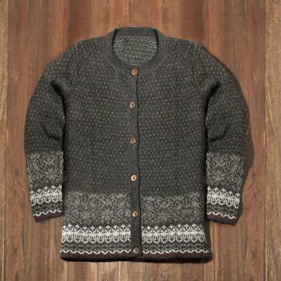100% alpaca cardigan, 'Wintry Passion' - Graphite and Smoke 100% Alpaca Cardigan from Peru