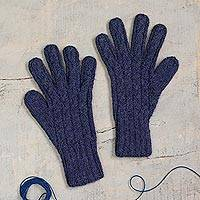 100% alpaca gloves, 'Winter Delight in Indigo' - 100% Alpaca Gloves in Indigo from Peru
