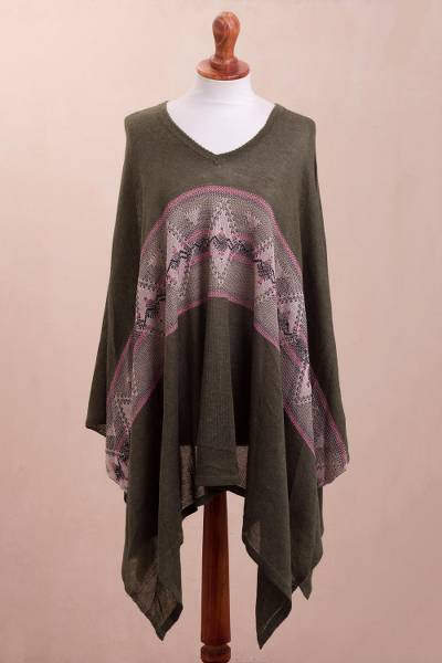 Cotton blend poncho, 'Olive Andes' - Geometric Cotton Blend Poncho in Olive from Peru