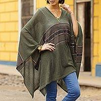 Cotton blend poncho, 'Olive Mountain' - Woven Cotton Blend Poncho in Olive Green from Peru