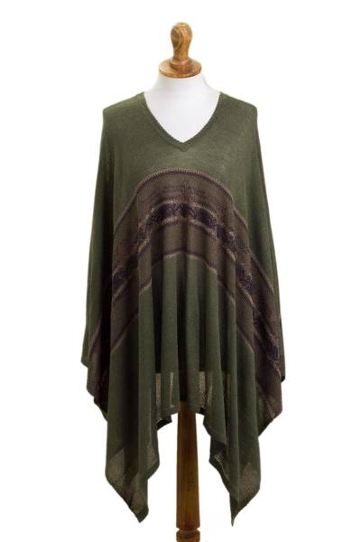 Woven Cotton Blend Poncho in Olive Green from Peru