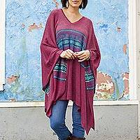 Cotton blend poncho, 'Andean Charm' - Cotton Blend Poncho in Cerise and Blue from Peru
