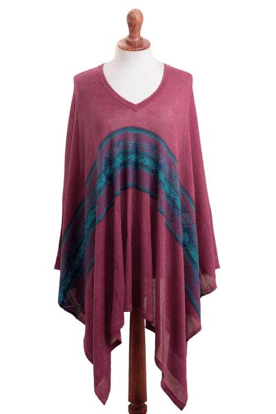 Cotton Blend Poncho in Cerise and Blue from Peru