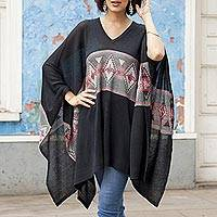 Cotton blend poncho, 'Mysterious Andes' - Geometric Pattern Cotton Blend Poncho in Black
