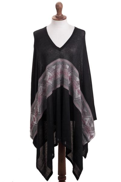Geometric Pattern Cotton Blend Poncho in Black