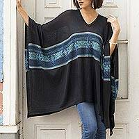 Cotton blend poncho, 'Seasonal Escape'