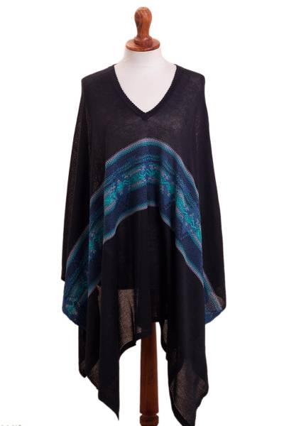 Artisan Crafted Cotton Blend Poncho in Black and Blue