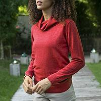 Cotton blend pullover, 'Cerise Red Versatility' - Knit Cotton Blend Pullover in Solid Cerise Red from Peru