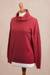 Cotton blend pullover, 'Cerise Red Versatility' - Knit Cotton Blend Pullover in Solid Cerise Red from Peru (image 2c) thumbail