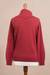 Cotton blend pullover, 'Cerise Red Versatility' - Knit Cotton Blend Pullover in Solid Cerise Red from Peru (image 2d) thumbail