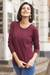 Cotton blend pullover, 'Warm Valley in Royal Cerise' - Knit Cotton Blend Pullover in Cerise from Peru thumbail