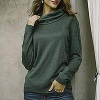 Cotton blend pullover, 'Viridian Versatility' - Turtle Neck Cotton Blend Pullover in Viridian from Peru