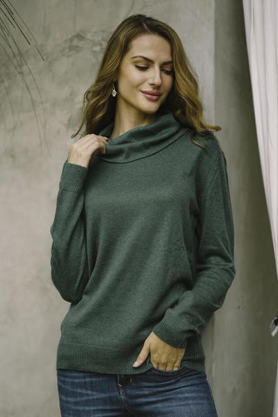Cotton blend pullover, 'Viridian Versatility' - Turtle Neck Cotton Blend Pullover in Viridian from Peru