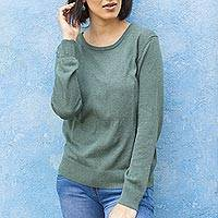 Cotton blend pullover, 'Warm Valley in Viridian' - Knit Cotton Blend Pullover in Viridian from Peru