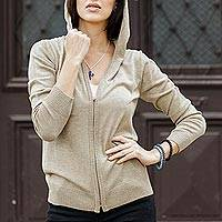 Cotton blend hooded cardigan, 'Simple Delight in Taupe' - Cotton Blend Hooded Cardigan in Taupe from Peru