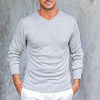 Men's cotton blend pullover, 'Warm Adventure in Pearl Grey' - Men's V-Neck Cotton Blend Pullover in Pearl Grey from Peru