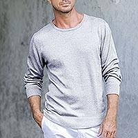 Men's cotton blend pullover, 'Classic Warmth in Pearl Grey' - Men's Crew Neck Cotton Blend Pullover in Pearl Grey