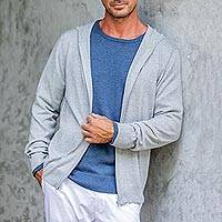 Men's cotton blend hooded cardigan 'Neutral Grey Adventure' - Light Grey Cotton Blend Men's Hooded Cardigan Sweater
