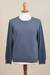 Men's cotton blend pullover, 'Casual Comfort in Indigo' - Men's Crew Neck Cotton Blend Pullover in Indigo from Peru (image 2c) thumbail