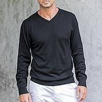 Men's cotton blend pullover, 'Warm Adventure in Black' - Men's V-Neck Cotton Blend Pullover from Peru