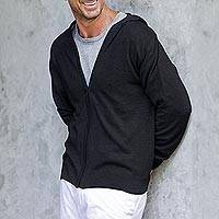 Men's cotton blend hoodie, 'Licorice Black Adventure' - Black Cotton Blend Men's Hoodie Sweater