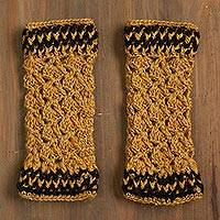 100% alpaca fingerless mitts, 'Cuzco Honey' - Hand-Crocheted 100% Alpaca Fingerless Mitts in Honey