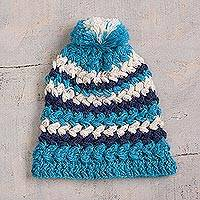 100% alpaca hat, 'Lakes of the Andes' - Blue and Eggshell Crocheted 100% Alpaca Hat from Peru