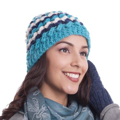 Blue and Eggshell Crocheted 100% Alpaca Hat from Peru