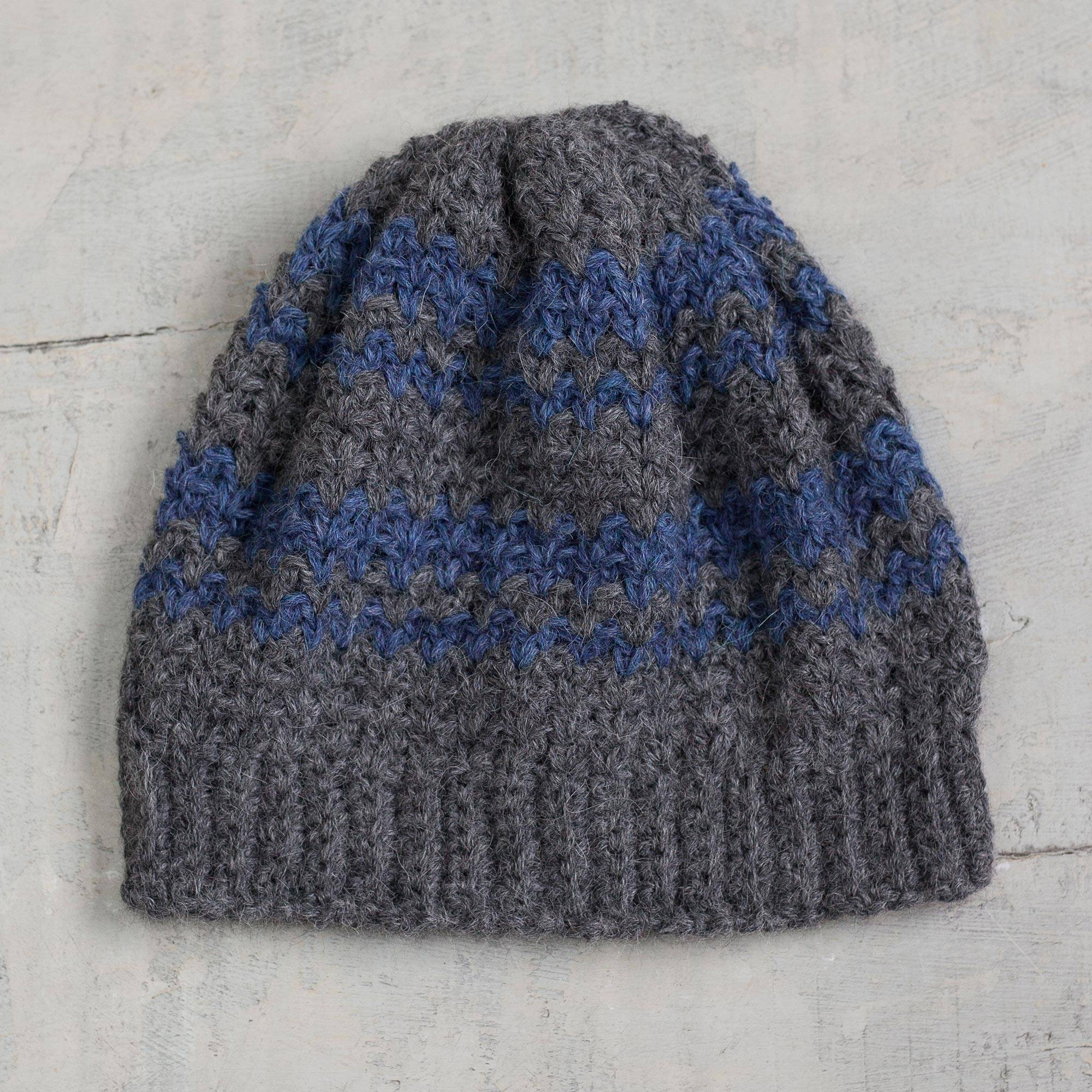 100% alpaca hat, 'Bold Adventure' - Striped Azure and Graphite 100% Alpaca Hat from Peru