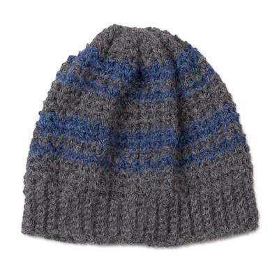 Striped Azure and Graphite 100% Alpaca Hat from Peru