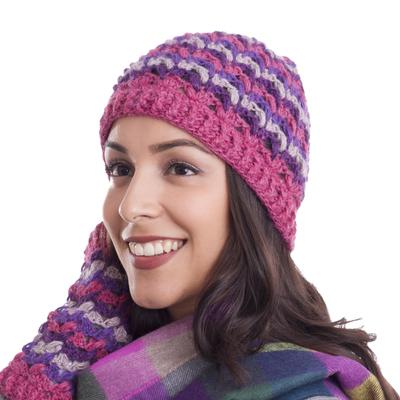 Striped 100% Alpaca Crocheted Hat from Peru