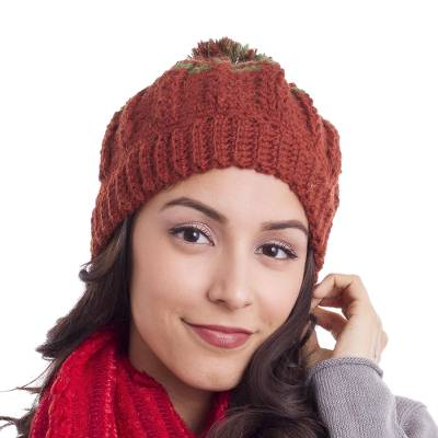 Russet and Avocado Striped 100% Alpaca Hat from Peru