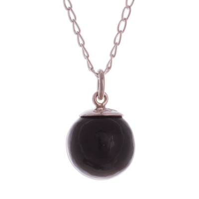 Obsidian Orb Pendant Necklace Crafted in Peru