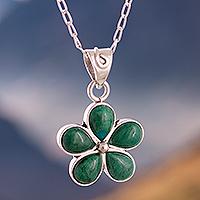 Chrysocolla pendant necklace, 'Nature Love' - Floral Chrysocolla Pendant Necklace from Peru