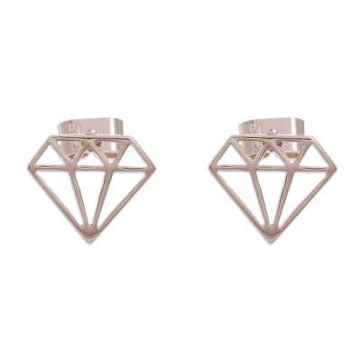 Peruvian Sterling Silver Diamond Motif Button Earrings