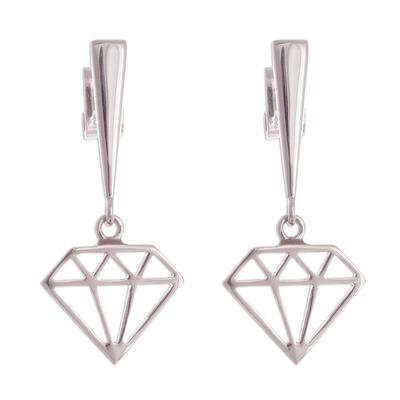 Peruvian Sterling Silver Diamond Motif Dangle Earrings