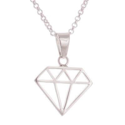 Peruvian Sterling Silver Diamond Motif Pendant Necklace