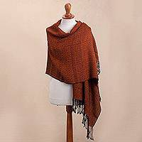 100% alpaca shawl, 'Splendid Geometry' - Pumpkin and Black 100% Alpaca Shawl from Peru