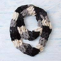 100% alpaca infinity scarf, 'Fascinating Wave' - Wave Pattern 100% Alpaca Infinity Scarf from Peru