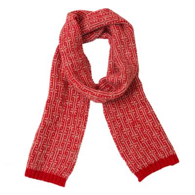 Labyrinth Pattern Crimson 100% Alpaca Wrap Scarf from Peru