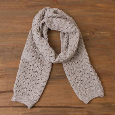 100% alpaca scarf, 'Taupe Wind' - Knit 100% Alpaca Wrap Scarf in Taupe from Peru