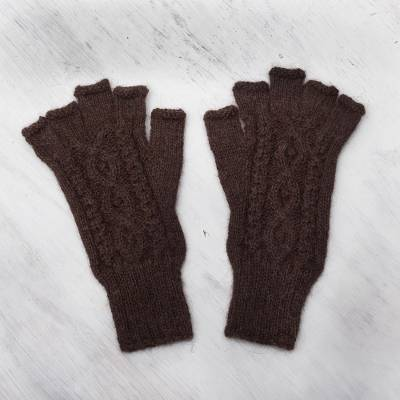 100% alpaca fingerless gloves, 'Warm Mahogany' - Hand-Knit 100% Alpaca Fingerless Gloves in Mahogany
