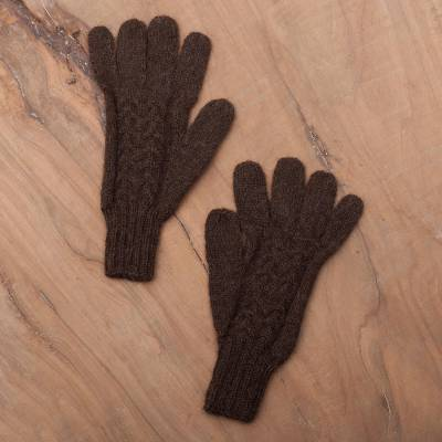 100% alpaca gloves, 'Winter Walk in Mahogany' - Hand-Knit 100% Alpaca Gloves in Mahogany from Peru