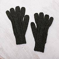 100% alpaca gloves, 'Winter Walk in Pine Green' - Hand-Knit 100% Alpaca Gloves in Pine Green from Peru