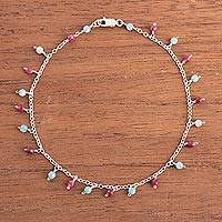 Agate charm anklet, 'Festive Planets' - Blue and Fuchsia Agate Charm Anklet from Peru