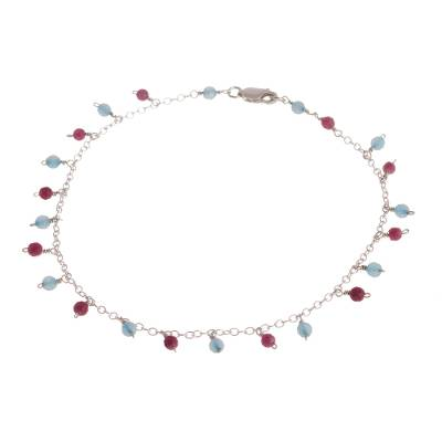 Blue and Fuchsia Agate Charm Anklet from Peru